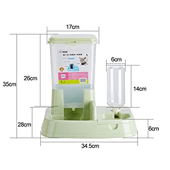 Aosbos 2 en 1 Distributeur Automatique de Nourriture Croquette et d?eau pour Chat et Chien avec Gamelle et Bouteille - 3L Vert