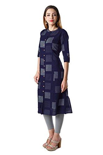 Bright Cotton Women's Cotton A-Line Printed Kurti (BCOWN-007B-38, Blue, Medium)