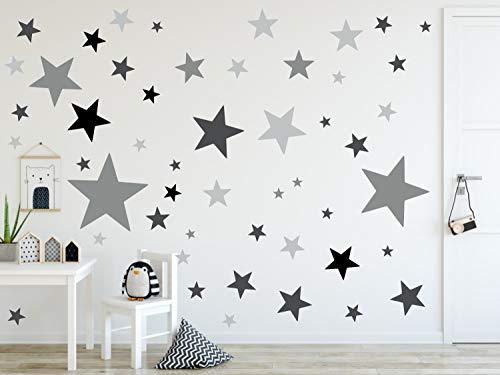 timalo® 120 Stück Wandtattoo Kinderzimmer XL Sterne Pastell Wandsticker - Aufkleber | 73079-SET22-120