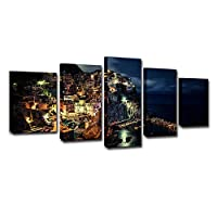SHINERING 5plate Cinque Terre night view modern home decoration canvas art frameless, 10cm × 25cm × 1pcs