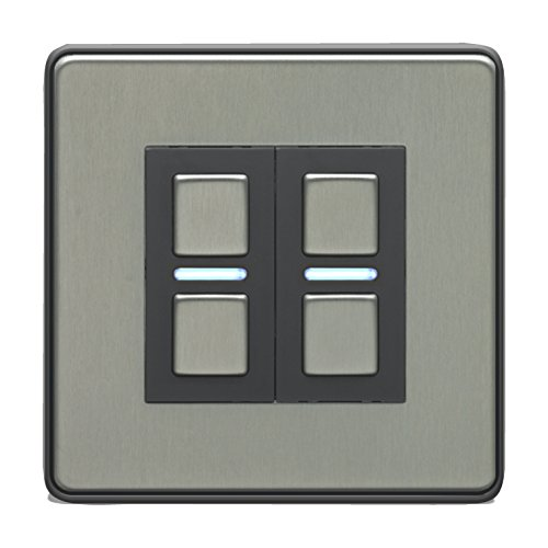 Two Gang Stainless Steel Smart Dimmer Switch - Works with Apple HomeKit, Amazon Alexa and Google Assistant