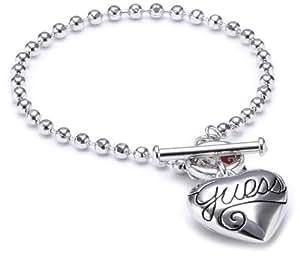 Guess - UBB80924 - Puffy Script Heart - Bracelet Femme - Métal argenté - 18 cm
