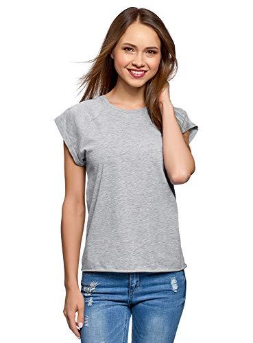oodji Ultra Damen Baumwoll-T-Shirt Basic mit Unbearbeitetem Saum, Grau, DE 36 / EU 38 / S - Damen Basic Baumwoll-t-shirt