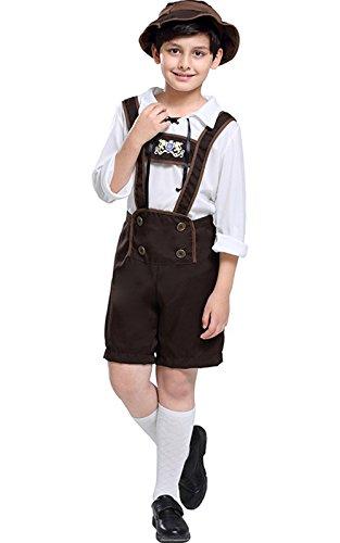 Perfectii Jungen Oktoberfest Beer Bavarian Guy Hosen Kostüm Set Kinder Trachtenhemd & Trachtenhose Set für Oktoberfest Karneval (Guy Kostüm Oktoberfest)