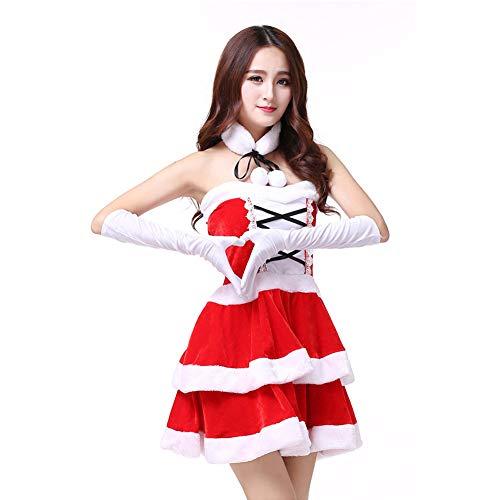 GSDZN - Freundin,Weihnachtsmann Damen, Miss Santa Costume, Einheitsgröße, M-XL,OneSize-M-XL (Claus Miss Santa Und)