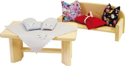 Rlke Holzspielzeug 21665 - Cuscini e tovaglia per casa delle bambole