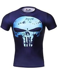 Cody Lundin® Los hombres de compresión digital Printing Skull Logo Castigador camisetas de manga corta