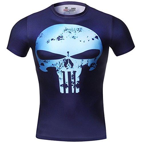 Cody Lundin® Movie Theme Superhero Uomo Sport Manica Corta Tee Fitness Compressione Shirt (M,Punizione)