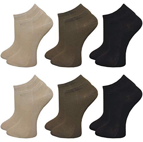 GAWILO 6 Paar Damen Bambus Sneaker Socken, atmungsaktiv und langlebig (39-42, farbig 2) (Braune Sneaker Frauen)