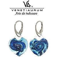 Venetiaurum by Linea Italia - Orecchini donna in vetro originale di Murano e argento 925 - Gioiello made in Italy certificato