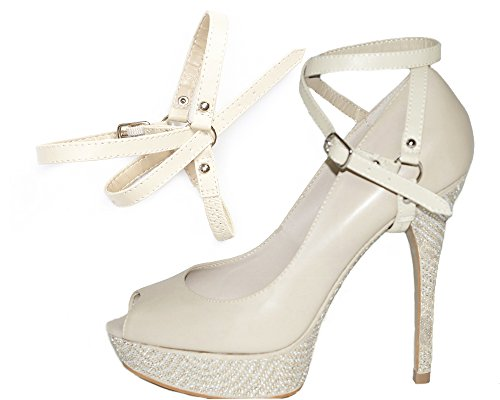 Correas para Zapatos Removibles - Para sujetar zapatos de taco alto flojos (beige artístico) KScOle