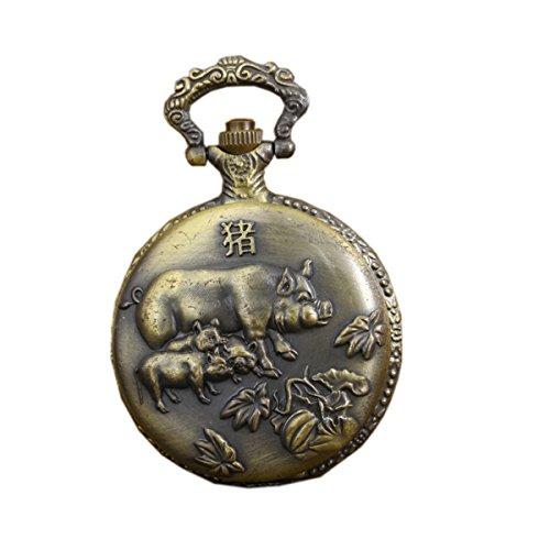 antique-vintage-pocket-watches-with-brass-chain-zodiac-pig-quartz-fob-watch