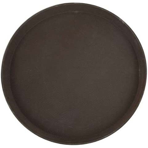 Winco Round Fiberglass Tray with Non-Slip Surface, 16-Inch, Brown by Winco USA