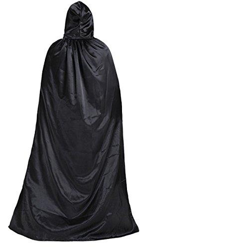 Robe Kostüm D'halloween (GEXING Kinderkleidung Erwachsene Schwarzen Mantel Mantel Kinder Zauberer Roben Tod Vampire Cosplay)