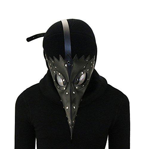 u-Leder Retro Gesicht Pest Arzt Maske Schnabel Tanz Halloween Rolle Spielen Party Kleidung Zubehör Requisiten Unisex ()