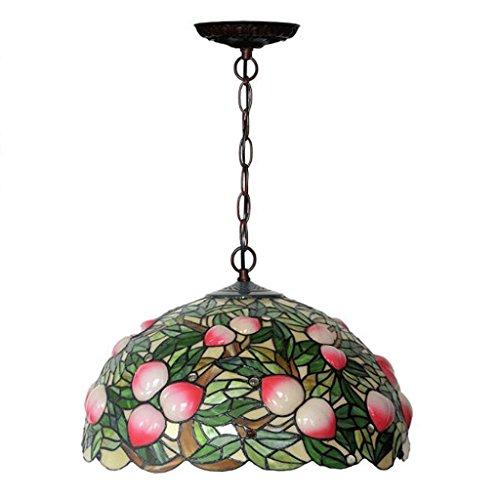 Art-deco-glas-kronleuchter (GAOLILI Zinnober rosa kreative Design amerikanische Land Pastorale Restaurant Küche Stimmung Art-Deco-Glas Kronleuchter warme und romantische reine Hand E27)