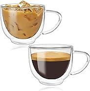 INAYA - Coffee Cup Glass Mug with Handle For Starbucks, espresso, cappuccino, Turkish & Saudi tea For (7oz