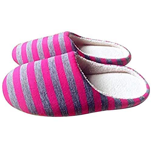 WeiMay 1 Paire Pantoufles Pas Cher Automne Hiver Pantoufles Coton Confortable et Chaleureux Chaussons pour Femme(38-39) Rose Roug