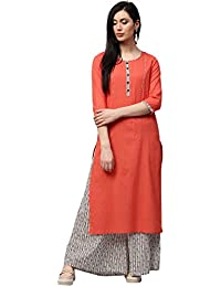 "Jaipur Kurti Women Peach Self Print With Stripes Straight Fit 46"" Length Cotton Dobby Kurta With White Printed..."