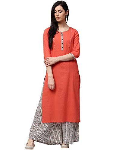 Jaipur Kurti Women Peach Self Print with Stripes Straight Fit 46