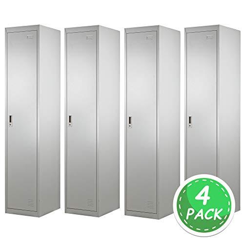 Brigros ® armadio spogliatoio 1 anta 180 x 38 x 45 (4 pack) con serratura e specchietto interno