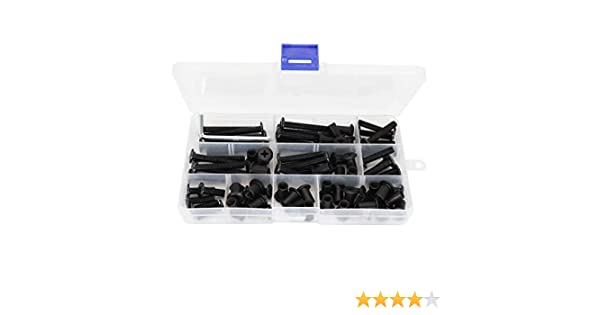 binifiMux 40-Set M6 x 15mm// 20mm// 25mm// 30mm// 35mm// 40mm// 45mm// 50mm Black Rivet Phillips Countersunk Head Screws Cap Nuts Assortment Kit for Furniture Cupboard Wardrobe Chairs Bed