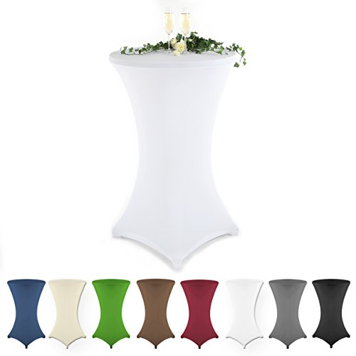 Gräfenstayn® 2er Set Stehtischhusse Diana verschiedene Farben und Größen für einen Tischdurchmesser von Ø60 cm • Ø70 cm • Ø80 cm - mit Öko-Tex Siegel Standard 100 30590 (Ø 60, Weiß)