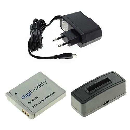 GIGAFOX® 3-teiliges Ladeset Akku, Akku - Ladestation und Netzteil - für Canon Ixus 200/210 / 300 und Powershot-Serie SX240 / SX260 / S95 - für schnelles Laden -