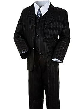 Hochwertiger Jungen Anzug, schwarz, 5tlg. #194