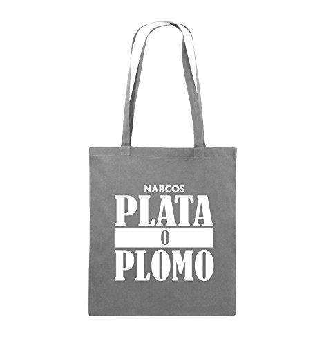 Comedy Bags - PLATA O PLOMO - NARCOS - Jutebeutel - lange Henkel - 38x42cm - Farbe: Schwarz / Silber Dunkelgrau / Weiss