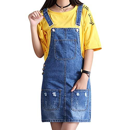 Donna gonna salopette moda carina jeans rompers breve vestito regolabile blu mini abiti con tasca