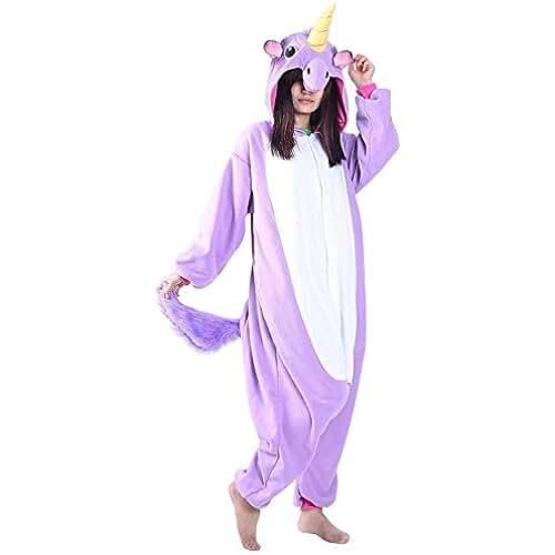 Pijama Animal Unicornio Entero para Adultos Pijama Mono Animal para Mujer Hombre Disfraz para Navidad con Capucha Invierno Franela