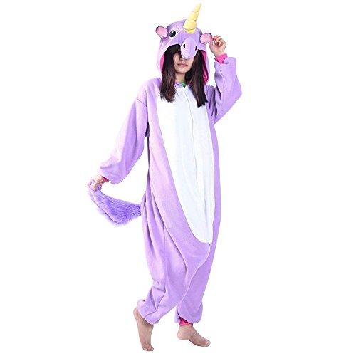 Einhorn Kostüm Erwachsene Tier Jumpsuits Onesie Pyjama Nachthemd Nachtwäsche Cosplay Overall Hausanzug Fastnachtskostuem Karnevalskostüme Faschingskostüm Kapuzenkostüm (XL: Für Ihre Höhe :181 - 190cm, Violett) (Faschingskostüme)