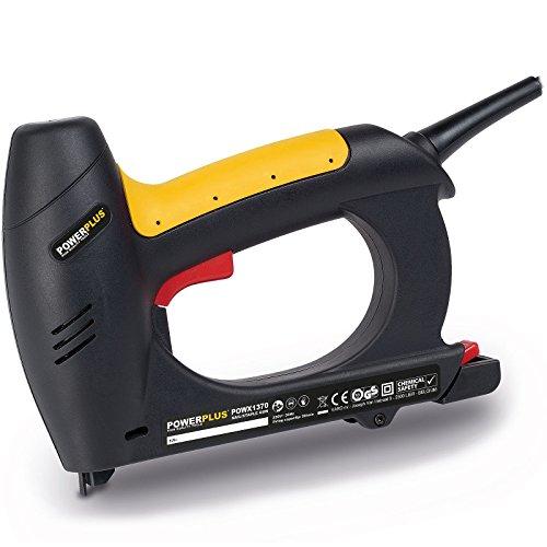 POWERPLUS POWX1370 Elektro Tacker / Nagler 230 Volt inkl. 200 x Klammern und 100 x Nägel und Aufbewahrungskoffer