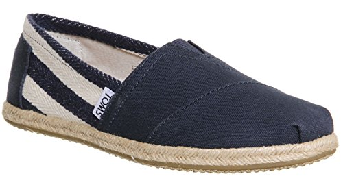 Toms Classic University Navy White Stripes Womens Canvas Espadrille Shoes Slipons-5