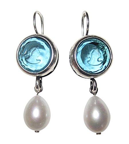 Gemmen-Ohrringe hell-blau Ohrhänger Glas-Gemme Perlen-Ohrringe hängende Süßwasserperle Bronze...