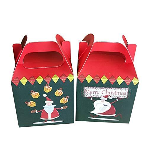 CTGVH Weihnachts-Boxen, süße Cartoon-Weihnachts-Geschenkboxen, Apfel-Süßigkeiten, Tragetaschen, Boxen Grün/Rot