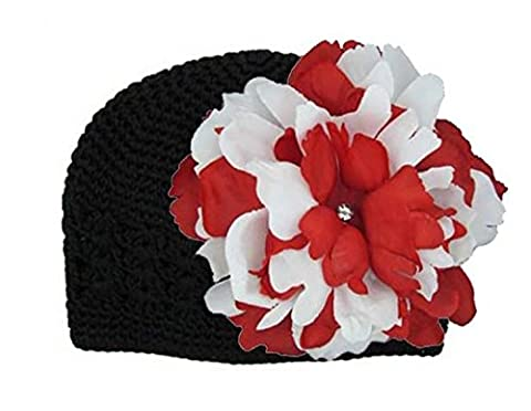 Black Crochet Hat with Red White Large Peony, Size: 12-18m