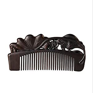 CHUANSHUZ Kamm ® Sandelholzkamm Skulptur Haarkämme Auspicious Lotus Creative Ebenholzkamm Ebenholzkamm Geschenkkamm