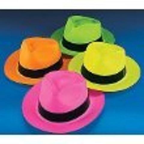 Neon Color Plastic Gangster Hats (12
