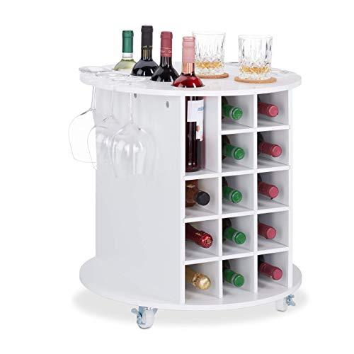 Relaxdays Mobile Portabottiglie Vino con Ruote Piroettanti 6 Portabicchieri Scaffale per 17 Bottiglie Rotondo MDF Bianco 56 x 54