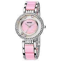 KIMIO K485M Diamond-stud Dial Wrist Watch White