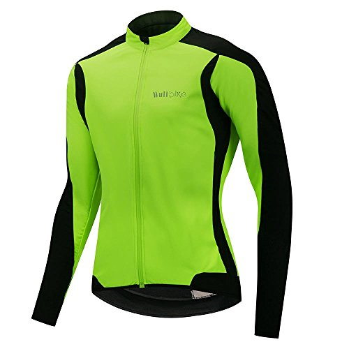 logas Maillot Cyclisme Hiver Veste Thermique Coupe Vent Impermeable Cycling Jersey Fleece Homme Vert Fluo