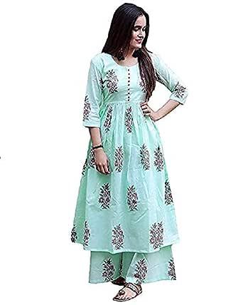 fashiongrape Women's Anarkali Cotton Kurta with palazzo (kurtiplazoblue_Blue_Small)
