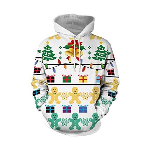 YZFZYLW Sweatshirt Frauen Weihnachten Kostüm Weihnachten Glocke Geschenk Box Muster Druck Freizeit Hoodies Mode Langarm Sweatshirt,Picture,XL
