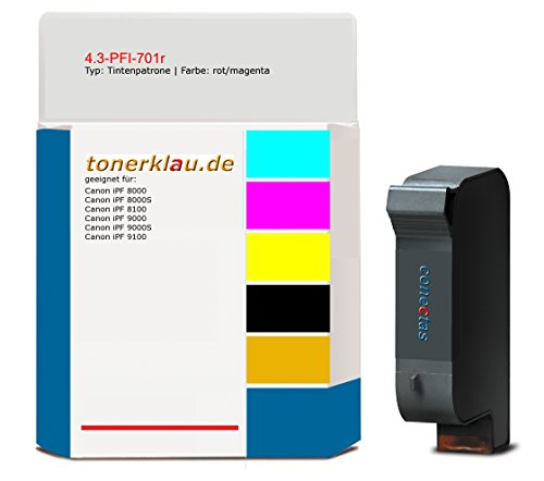 kompatibel Tintenpatrone 4.3-PFI-701r für: Canon iPF 9100 als Ersatz für Canon PFI-701r/0906B001 (Tintenpatrone 0906b001)