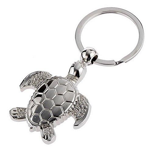 Porte-clés, bijou de sac motif tortue en acier argenté.