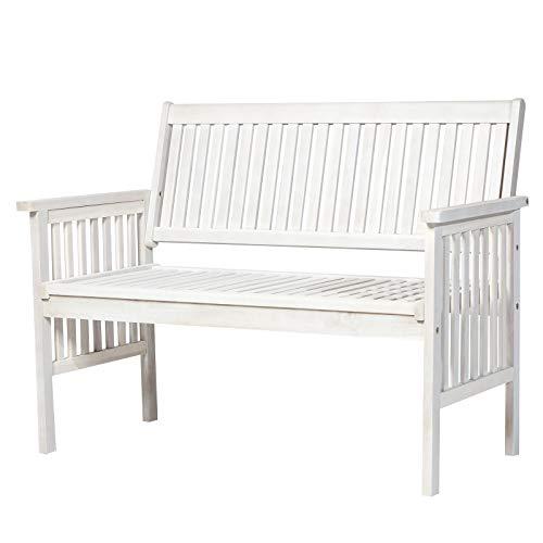Einfache Holzbank (Outsunny 2-Sitzer Sitzbank Gartenbank Holzbank Bank mit Armlehnen Landhausstil Akazienholz Weiß 117 x 63 x 90 cm)
