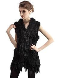 0f7ea2fad16c7a CharmantFur 4 Färbig Lang Echt Weich Warm Kaninchen Fellweste Pelzweste mit  Quaste ohne Arm im Winter