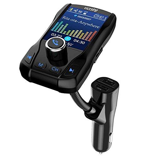 Vitsing FM-Transmitter, Bluetooth, Farbdisplay, 1,8 Zoll, Freisprecheinrichtung, kabellos, Sender, Radio-Ladegerät mit 3 USB-Ports und Aus-Schalter, Musik-Player, unterstützt USB-Stick, TF-Karte, AUX-Eingang